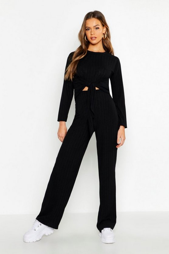 Knot Detail Rib Top & Wide Leg Trouser Co-Ord