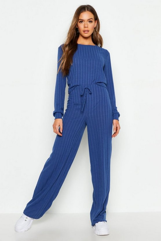 Womens Denim-blue Long Sleeve Top & Drawcord Wide Leg Rib Co-Ord