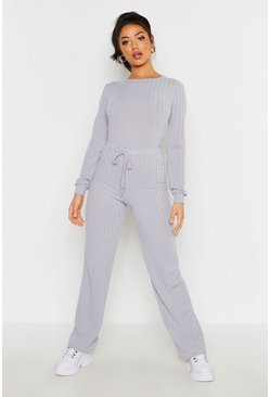 Womens Grey Long Sleeve Top & Drawcord Wide Leg Rib Co-Ord