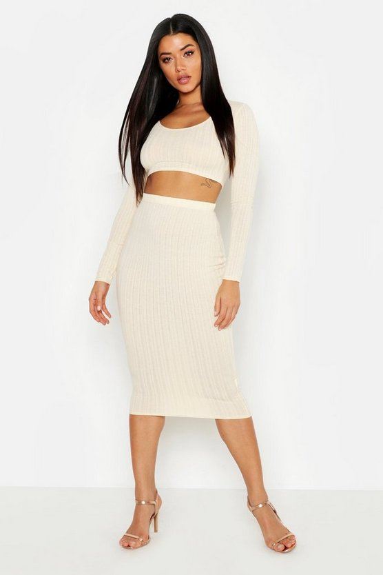 Womens Ecru Long Sleeve Rib & Midi Skirt Co-Ord