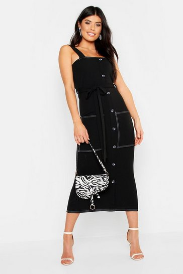 Womens Contrast Stitch Button Down Belted Midi Dress