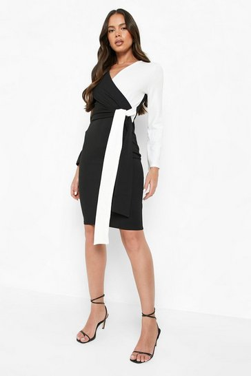 Womens Black Contrast Colour Block Wrap Midi Dress