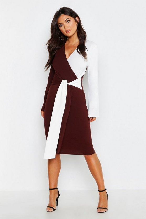 Contrast Colour Block Wrap Midi Dress