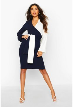 Womens Navy Contrast Colour Block Wrap Midi Dress