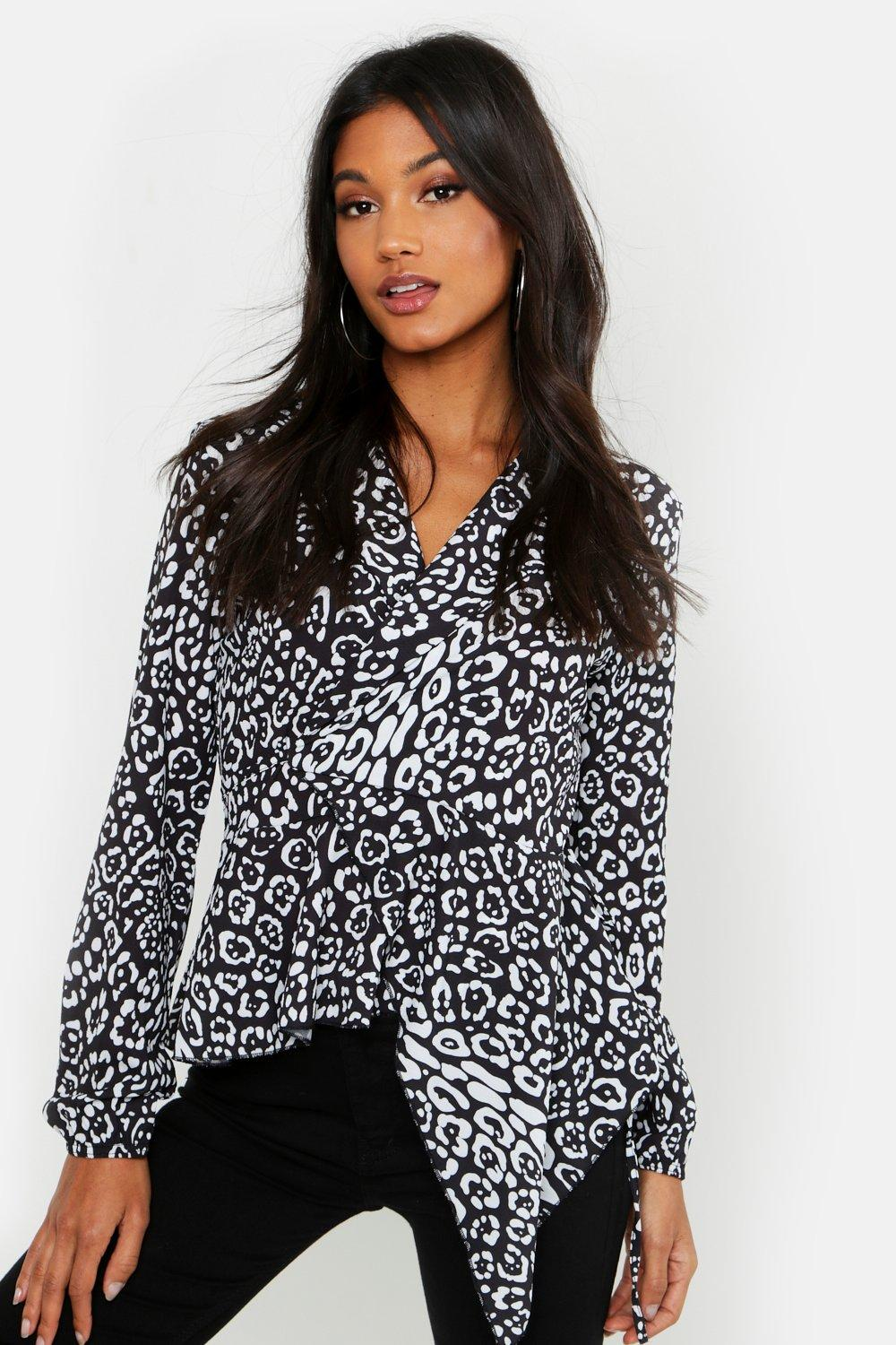 56ffb51169b Leopard Print Tie Wrap Ruffle Long Sleeve Blouse. Hover to zoom