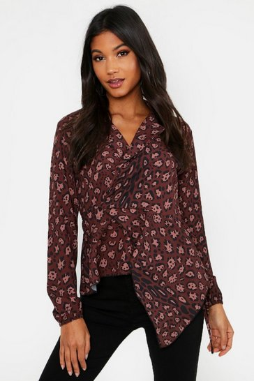 Womens Chocolate Leopard Print Tie Wrap Ruffle Long Sleeve Blouse