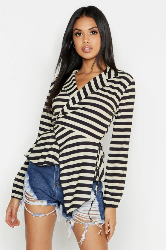 Vertical Stripe Tie Wrap Ruffle Long Sleeve Blouse