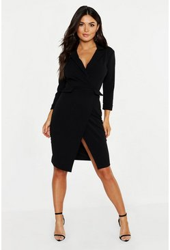 Womens Black Pocket Detail Blazer Dress