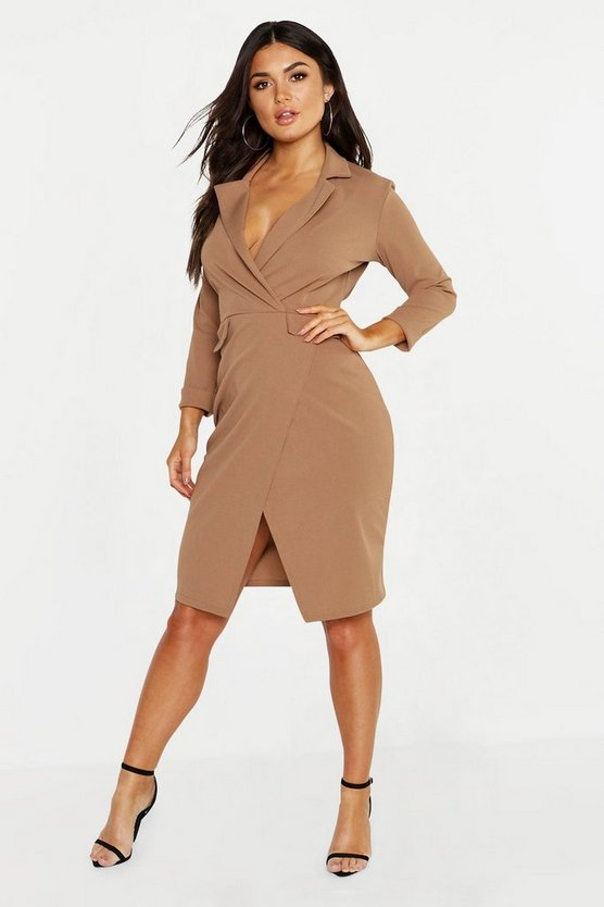 Womens Camel Pocket Detail Blazer Dress