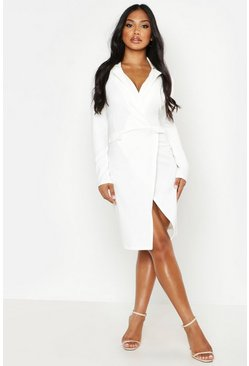 Womens Ivory Pocket Detail Blazer Dress