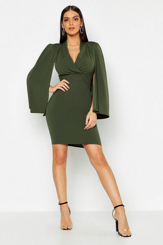 Cape Detail Blazer Dress