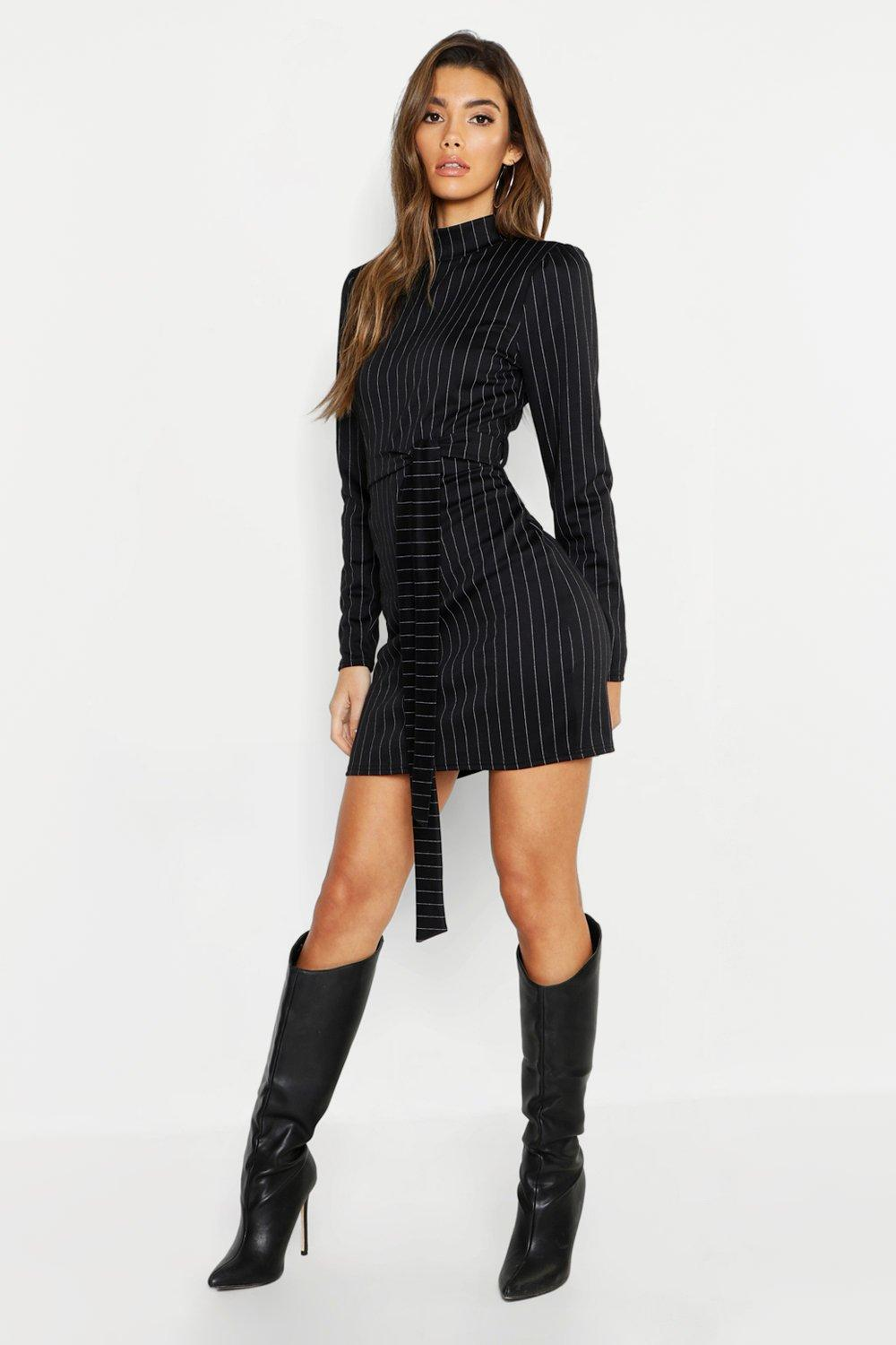 High Neck Long Sleeve Pinstripe Belted Mini Dress
