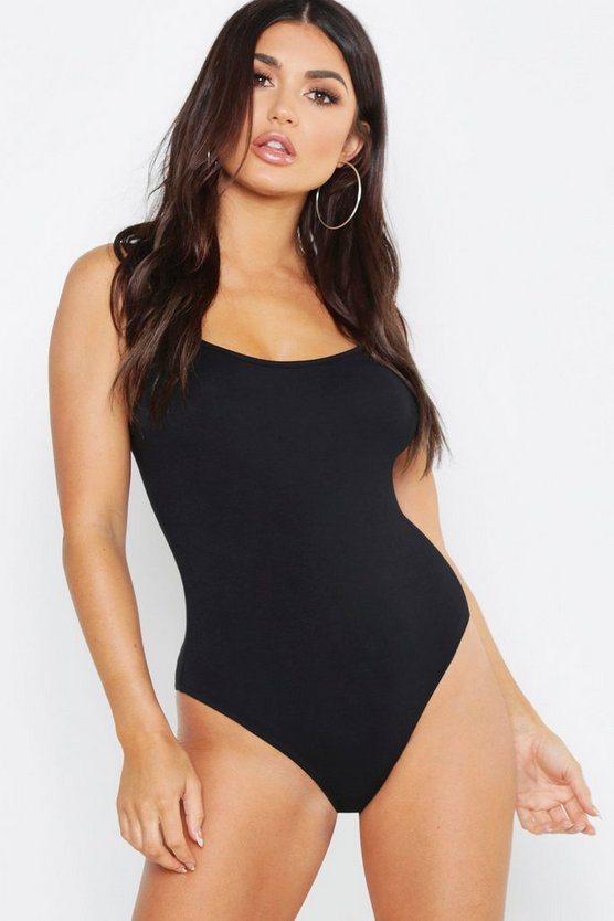 Womens Black Plunge Bodysuit
