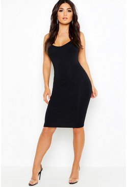 Womens Black Spaghetti Strap Bodycon Midi Dress