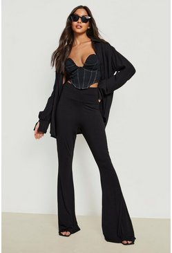 Womens Black High Waist Basic Fit + Flare Pants