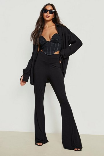 Womens Black High Waist Basic Fit + Flare Trouser