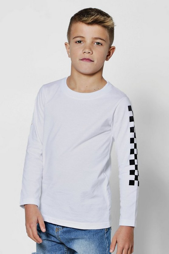 White Boys Checkerboard Long Sleeve T-Shirt