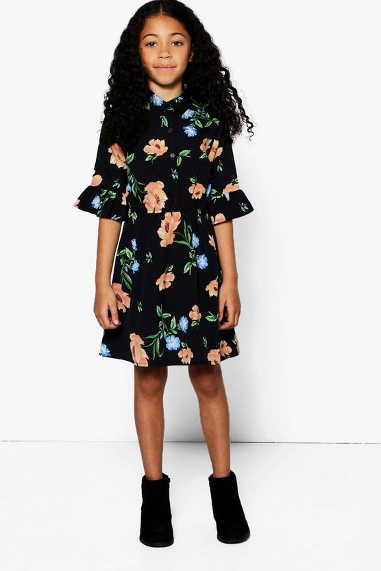 Girls Floral Shirt Dress