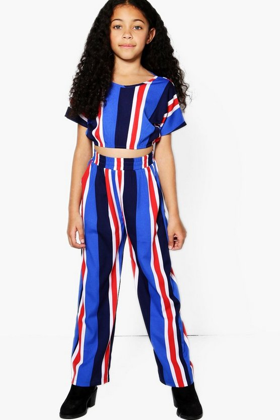 Girls Stripe Trouser & Crop Top Set