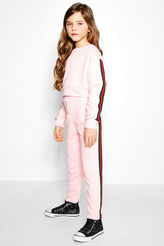 Girls Cropped Crew Neck Top & Jogger Set