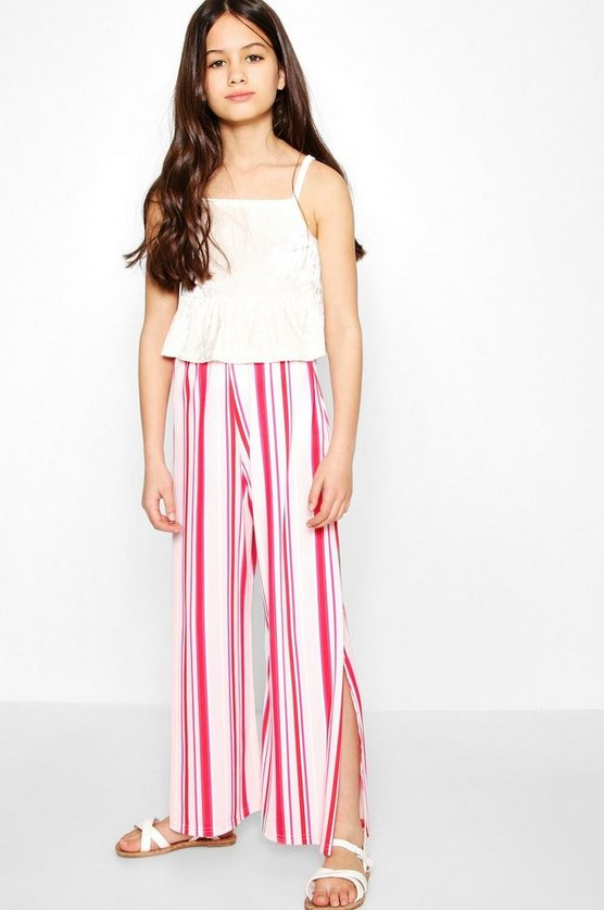 Girls Candy Stripe Wide Leg Trouser