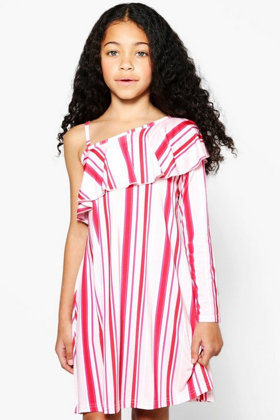 Girls One Shoulder Ruffle Swing Dress