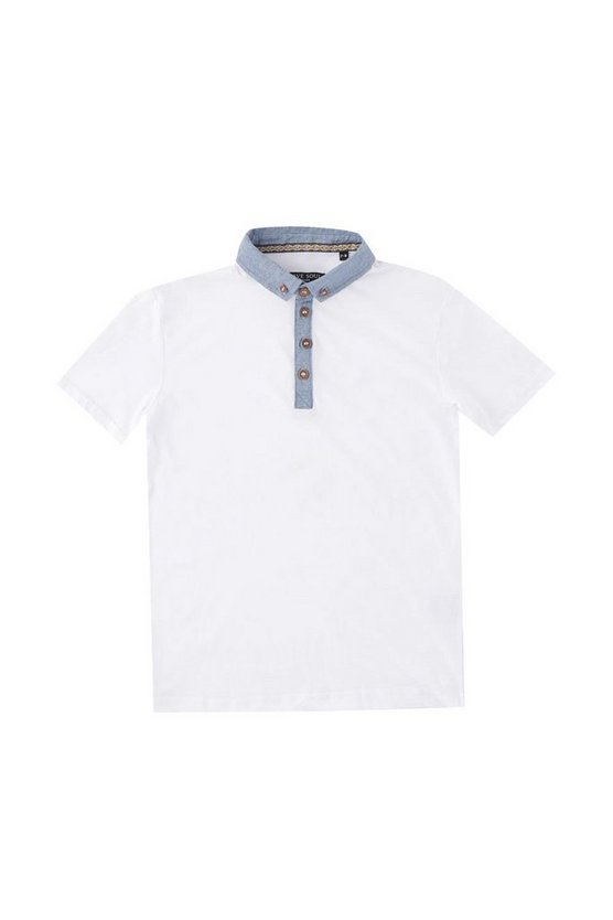 t-shirt polo avec col en chambray
