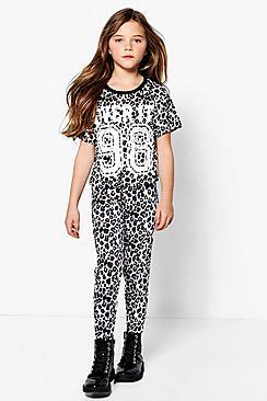 Girls Leopard Crop Top & Legging Sports Set