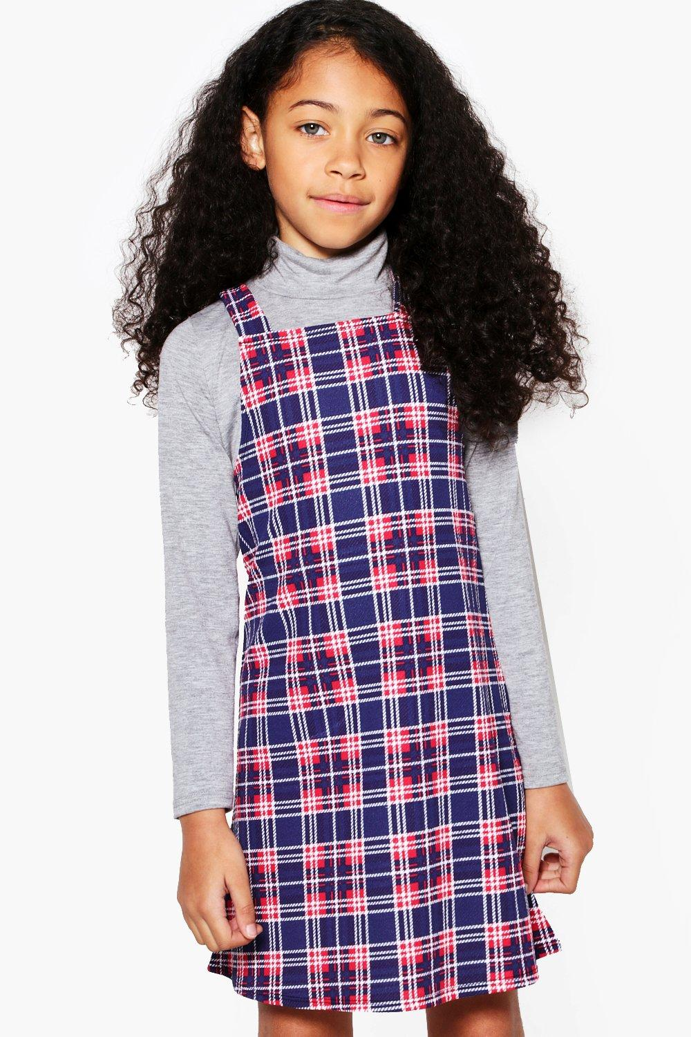 Girls Check Pinny Dress Boohoo Overall Stripe
