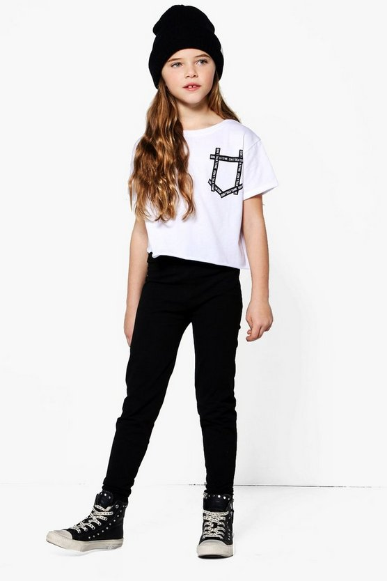 Girls Slogan Print Pocket Tee & Legging Set