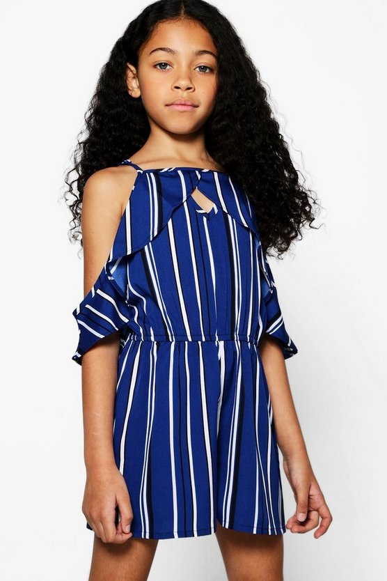 Girls Stripe Ruffle Cut Out Playsuit