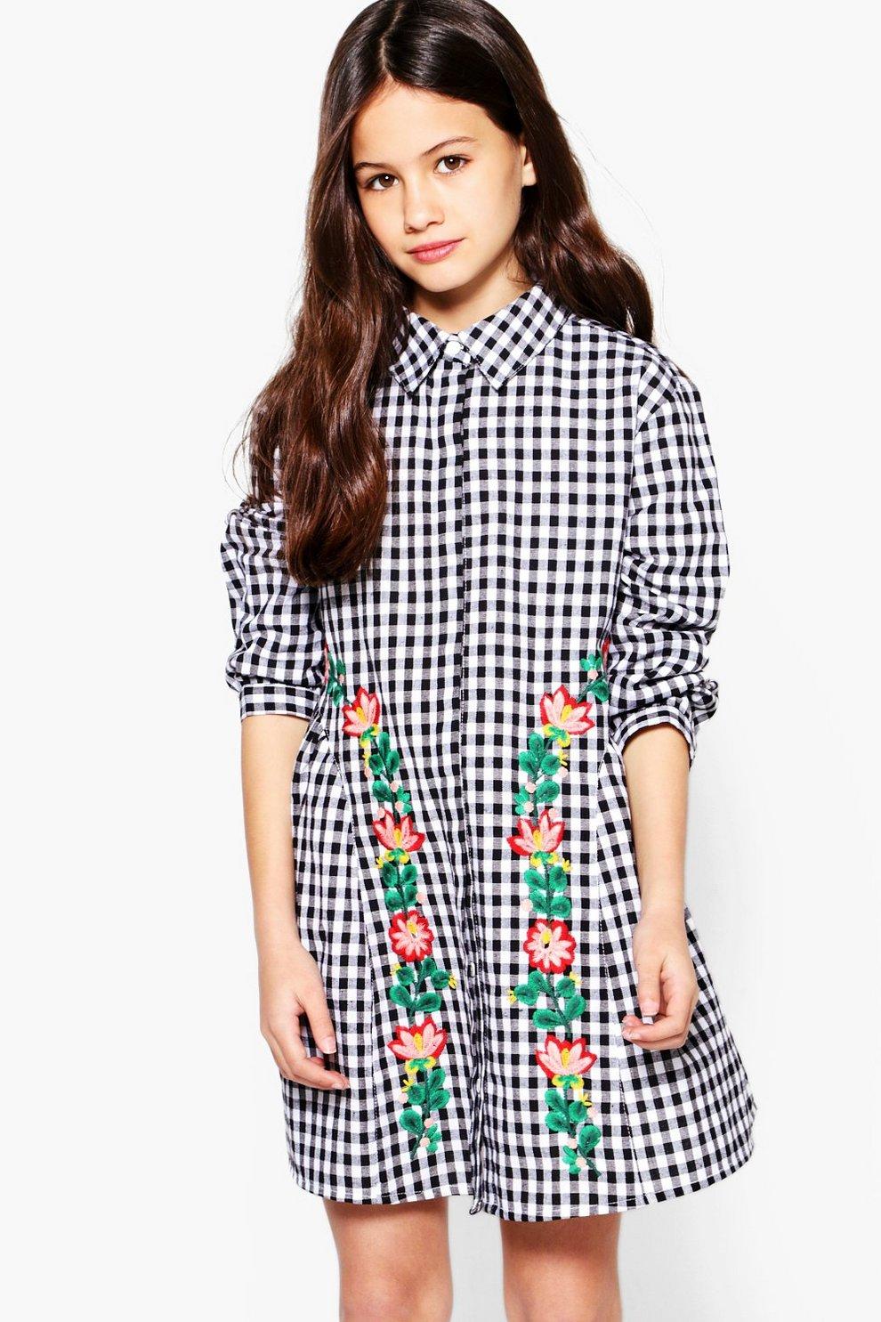 2a66bb48c1f Pour filles robe chemise à carreaux vichy