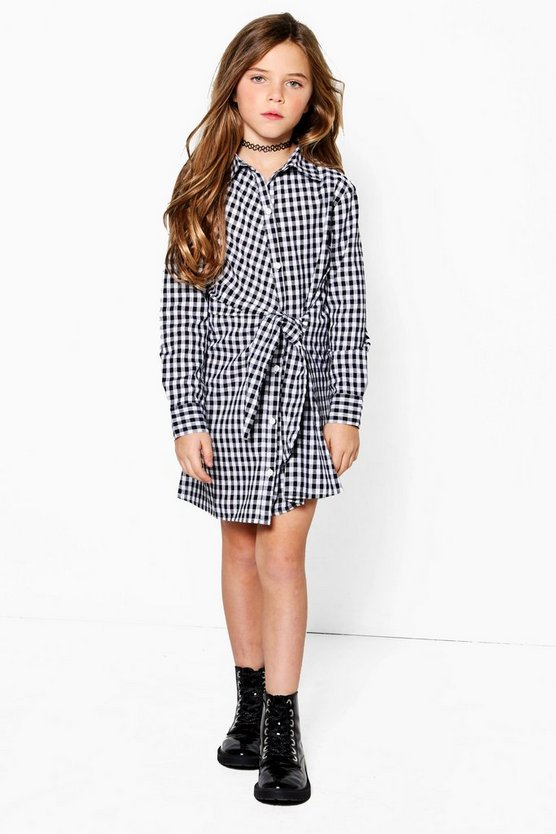 Girls Check Tie Waist Shirt Dress