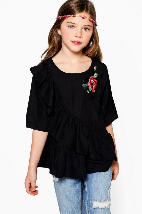 Girls Ruffle Front Shirt