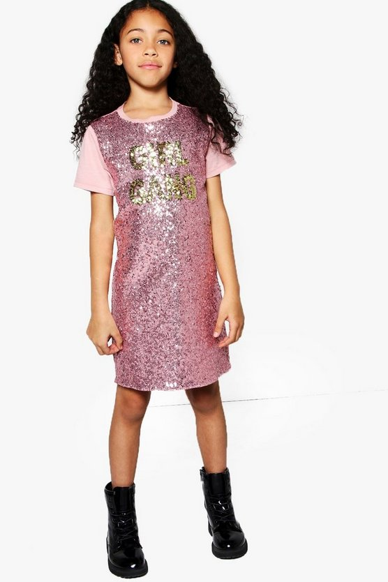 Girls Sequin Front Girl Gang Tee Dress