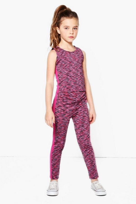 Girl Space Dye Contrast Panel Sports Set