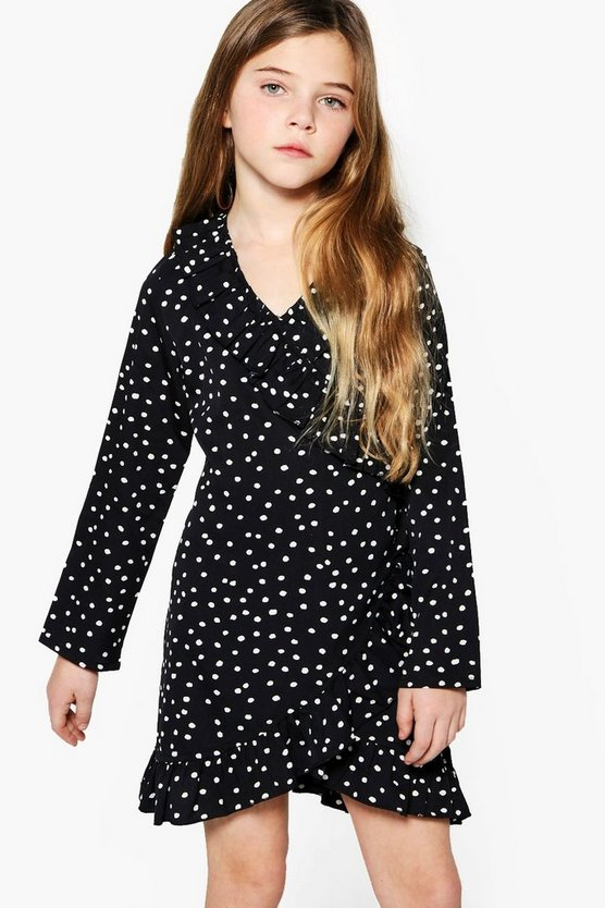 Girls Spot Print Asymetric Ruffle Dress