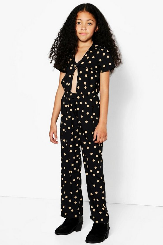 Girls Knot Front Spotted Jumpsuit