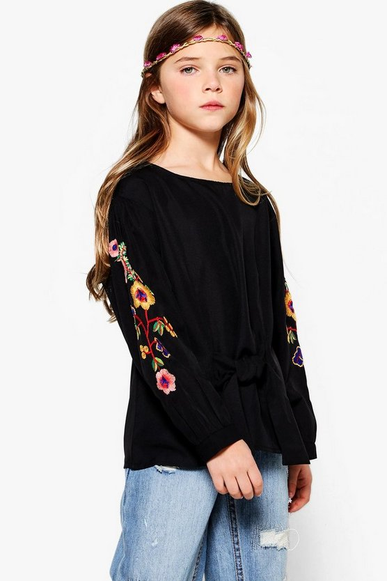 Girls Embroidered Puff Sleeve Shirt