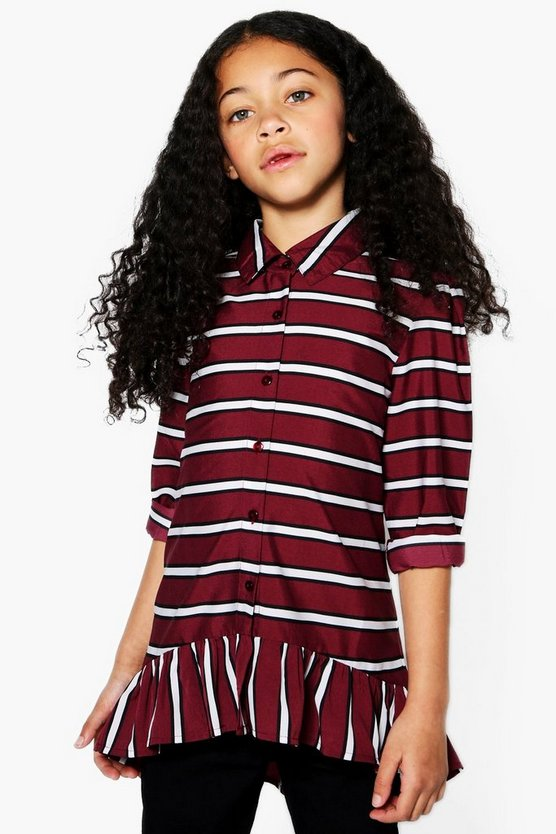 Girls Stripe Ruffle Shirt