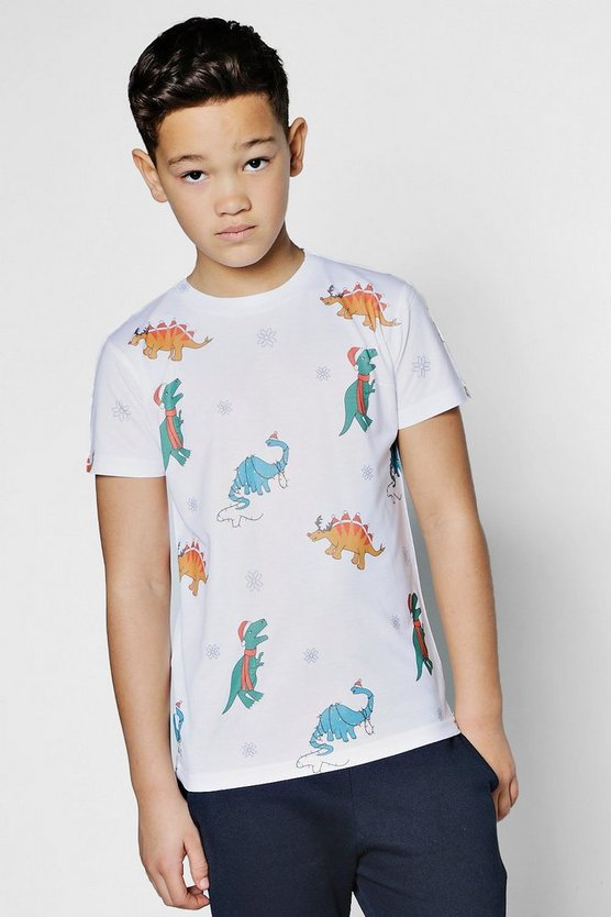 Boys All Over Christmas Dinosaur T-Shirt