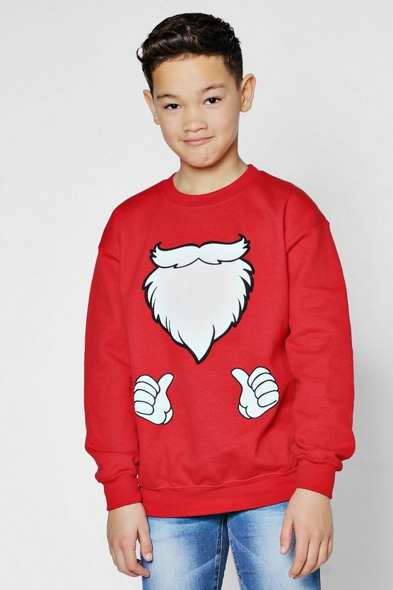 Boys Santa Beard Christmas Sweatshirt