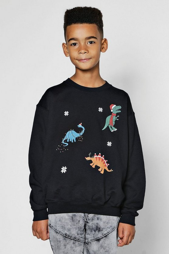 Boys Triple Dinosaur Christmas Sweatshirt