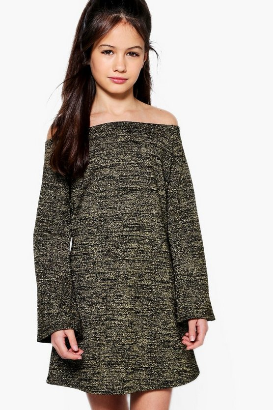 Girls Sparkle Knitted Bardot Dress