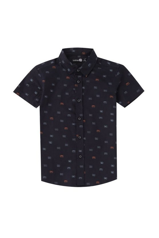 Boys Casette Print Short Sleeve Shirt