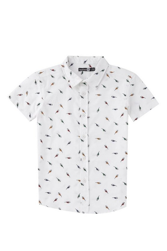 Boys Bird Print Short Sleeve Shirt