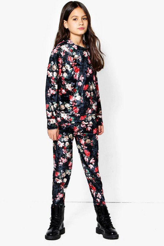 Girls Printed Floral Valore Tracksuit Set