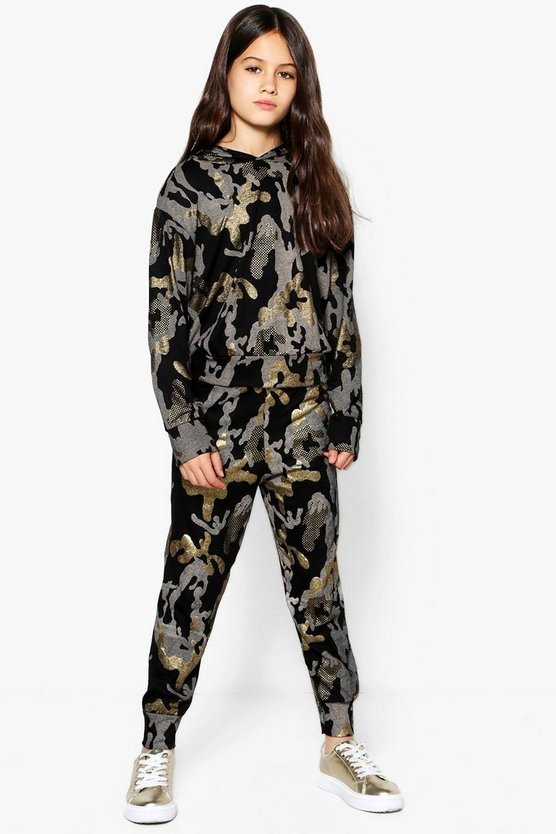 Girls Camo Foil Hooded Tracksuit Set