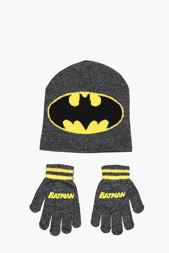 Boys Batman Knitted Hat And Gloves Set