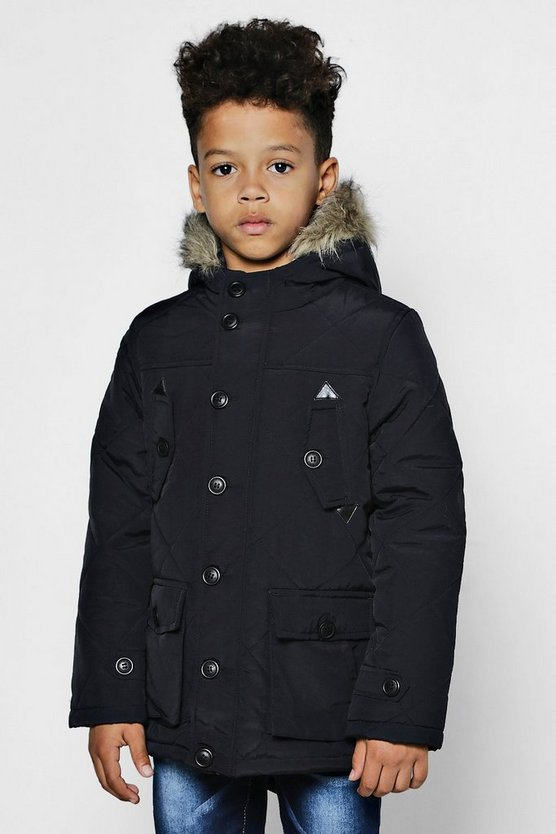 Boys Quilted Parka With Faux Fur Hood